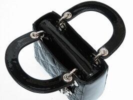 未使用 ディオール レディディオール カナージュ 2WAY ショルダー ハンドバッグ パテントレザー ブラック シルバー金具 黒 0225【中古】Dior ストラップ付