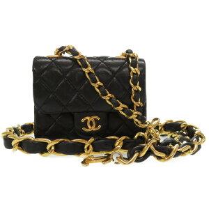 品相良好Chanel小羊皮黑色金色链条单肩包Coco Mark袋黑色腰带0074 [二手] CHANEL