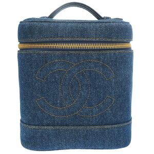 Buen estado Chanel Denim Blue Coco Mark 4th Series Vanity Bag Bolso Bag Blue 0085 [Usado] CHANEL Ladies