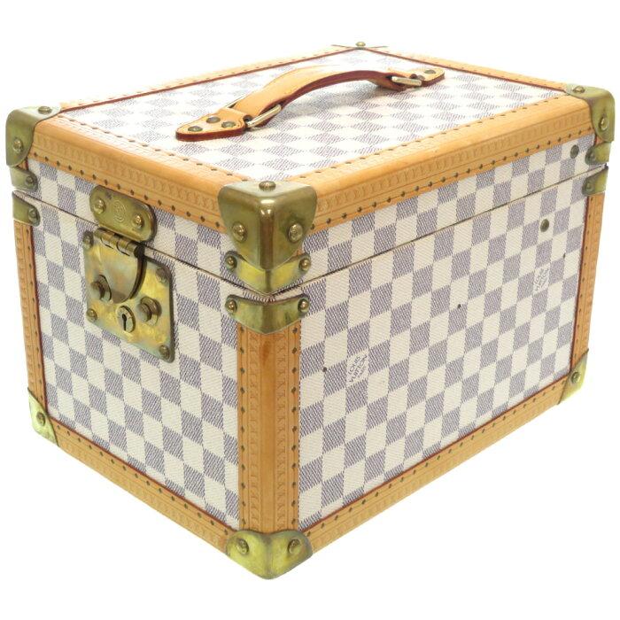 美品 ルイヴィトン ダミエ アズール ボワット フラコン ジュエリーケース メイクボックス 化粧バッグ N48032 LV 0469【中古】LOUIS VUITTON