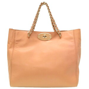 Beautiful goods mulberry leather natural gold chain tote bag bag 0186 [used] MULBERRY