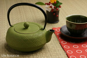 南部鉄瓶 岩鋳 急須・カラーポット5型 格子アラレ (金・若草) (茶こし付) 12462