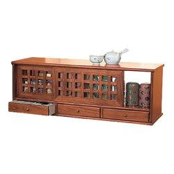 キッチン収納桐製格子カウンター上収納庫両面引き戸幅90cm引き出し付き