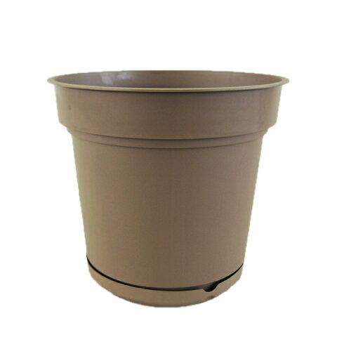 樹脂製植木鉢 ハイドポット ブラウン 18cm 貯水機能受皿付 5個入