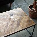 ローテーブル無垢材センターテーブルコーヒーテーブルインダストリアル家具アイアン