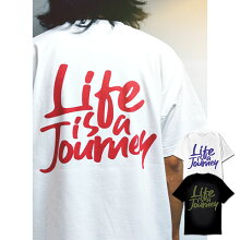 LifeisaJourneyバックロゴプリントTシャツクルーネック半袖ダンスカジュアルコットン送料無料ストリートブランドメンズレディースコットン100%色違いユニセックス彼氏彼女サーファーホワイトブラック人気トレンド
