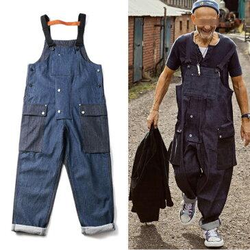 デニム サロペット オーバーオール メンズ カラーブロック ジーンズ overalls 厚手 作業服 マルチポケット ゆったり 作業ズボン つなぎ服 大きいサイズ ワークマン 作業着 ジーパン