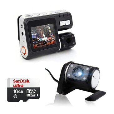 ダブルカメラドライブレコーダー 駐車監視 SanDisk16GマイクロSDカード付属 前後同時録画 720p 広角260度 常時録画 動体検知 LP-C0005