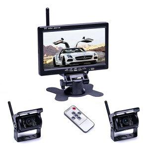 7インチモニター+カメラ2個搭載ワイヤレスバックカメラセット 防水 暗視 無線簡単取り付け 12-24V兼用 2チャンネル トラック トレーラーなど適用 LP-OMT78SET キャッシュレス 還元