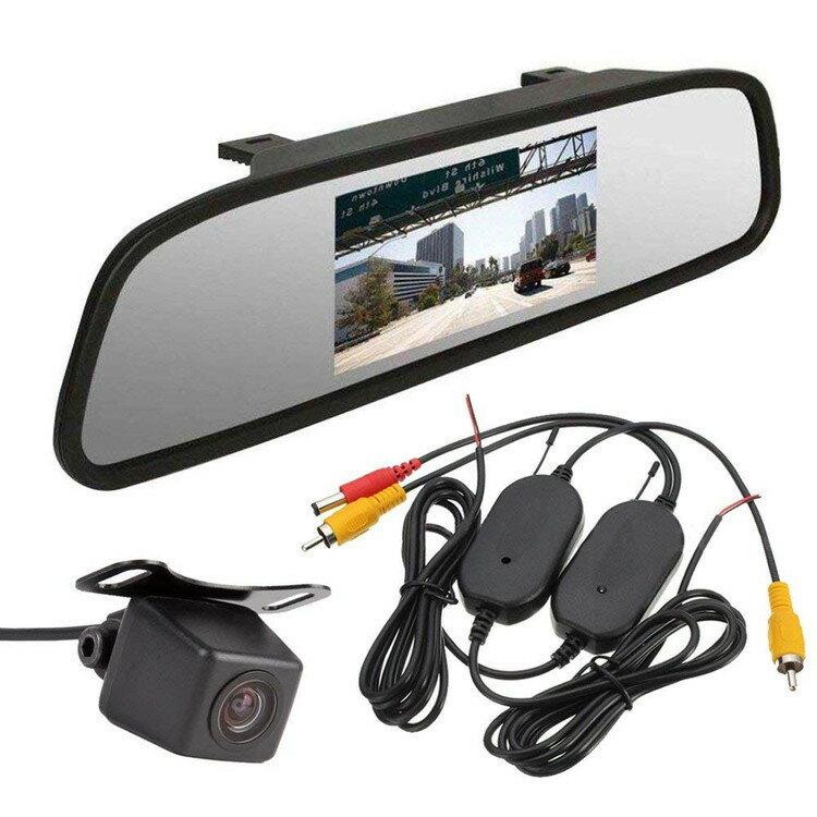 無線バックシステム 4.3インチルームミラー型モニター+高画質小型防水バックカメラ+ワイヤレストランスミッター3点セット ビデオ2チャンネル 12V専用 LP-RM43A0119NWBT画像