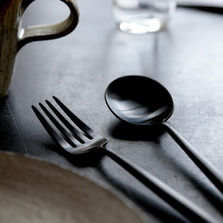 正規品 デザート フォーク・スプーン セット クチポール MOON マット ブラック ムーン デザートフォーク デザートスプーン 各1本 マット ブラック Cutipol カトラリー