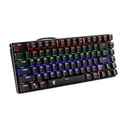 色:青軸ーブラック E元素メカニカルゲーミングキーボード レインボーLEDバックライト付き USB有線青軸81キーアンチゴーストキー 防水機能付きゲーム用キーボード (青軸ーブラック)