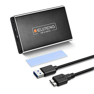 ELUTENG MSATA to USB3.0 ケース 5gbps 高速データ転送 MSATA SSDケースアルミ合金製 MSATA USB 変換 外付け ドライブケース 30x30 / 3050mm 超小型 MSATA ケース USBケーブル付き