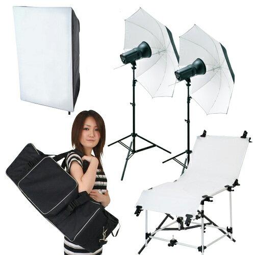 【撮影照明 撮影機材ライトグラフィカ】「ソク撮」入門テーブル付150Wストロボ2灯セット商品撮影や人物のバストアップに最適なテーブル付撮影照明キット 一眼レフカメラで本格的な撮影!撮影照明でワンランク上の写真が簡単に撮影可能!撮影用ストロボ照明キット:撮影機材・照明のライトグラフィカ