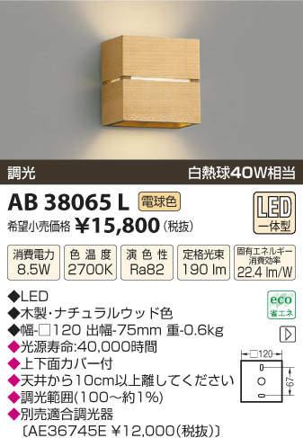 【SPU↑ポイント最大7倍】【\15000円〜送料無料※】コイズミ照明 AB38065L LEDブラケット (※北海道・沖縄・離島を除く)