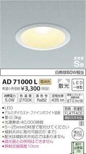 コイズミ パネルシリーズ ダウンライト AD71000L
