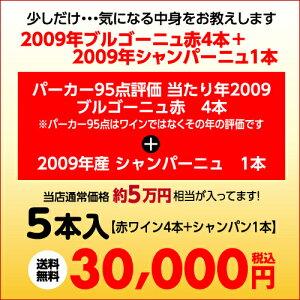 パーカー95点評価のブルゴーニュ当たり年20094本+09シャンパーニュ1本5本福袋3万円5本入り【ワイン福袋】【送料無料】