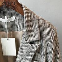 テーラードジャケットレディースアウター春ジャケットグレンチェックチェック柄グレーM/Lf911