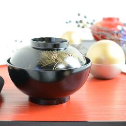 沈金松 雑煮椀 黒越前塗り伝統工芸技法による本漆刷毛塗りの最高級雑煮椀 贈答品 プレゼント テーブルウェア おもてなし おうちごはん 日本製
