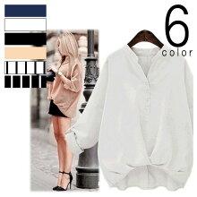 6color2type裾バルーンシャツストライプトップスブラウス春夏レディースリネン風ネイビーホワイトブラックピーチ160509-k1