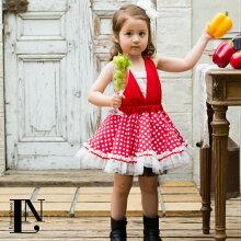 【レッド】ベビードレス70cm〜90cmドレス・チューブトップ・ふわふわヘッドドレスセット