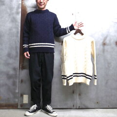 Wool Cricket Crewneck Sweater: Navy