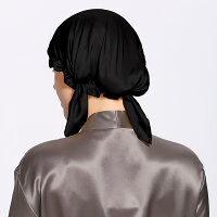 【LilySilk】19匁シルクナイトキャップ就寝用帽子リボン付き室内帽子お休み帽子メンズレディースパジャマ通気性抜群美髪パジャマ