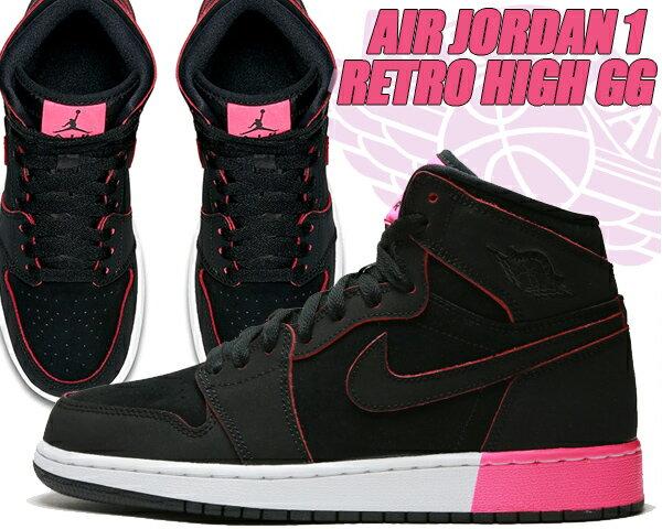 レディース靴, スニーカー NIKE AIR JORDAN 1 RETRO HIGH GG blkblk-hyper pink-wht