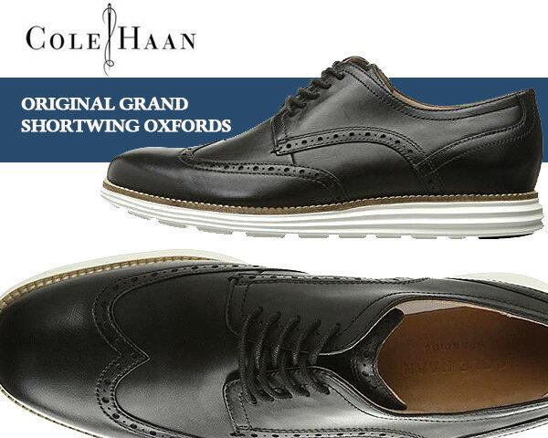 メンズ靴, ビジネスシューズ COLE HAAN ORIGINAL GRAND SHORTWING OXFORDS Dress Formal Shoes blackwhite MEDIUM