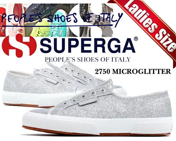 レディース靴, スニーカー SUPERGA 2750 MICROGLITTERW GREY SILVER S00C1P0-031