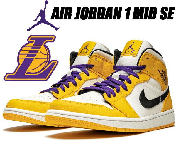 メンズ靴, スニーカー NIKE AIR JORDAN 1 MID SE university goldblack 852542-700 1 AJ1 LAKERS