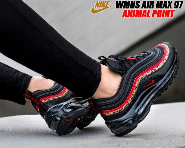 レディース靴, スニーカー NIKE WMNS AIR MAX 97 ANIMAL PRINT blackuniversity red-print bv6113-001 97