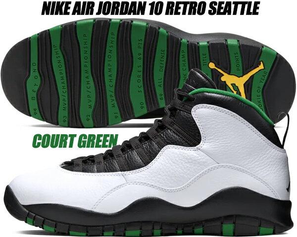 メンズ靴, スニーカー NIKE AIR JORDAN 10 RETRO SEATTLE whiteblack-court green 310805-137 10 AJ X