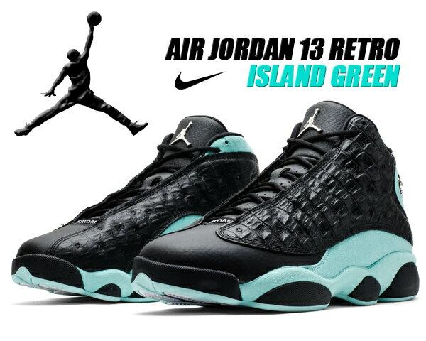 メンズ靴, スニーカー NIKE AIR JORDAN 13 RETRO ISLAND GREEN blackmetallic silver 414571-030 13 AJ XIII
