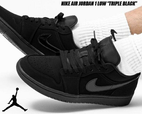 メンズ靴, スニーカー NIKE AIR JORDAN 1 LOW TRIPLE BLACK blackblack-black 553558-056 1 AJ1