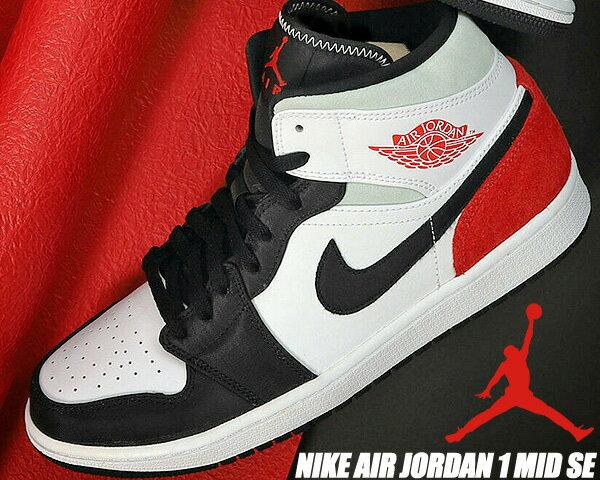 メンズ靴, スニーカー NIKE AIR JORDAN 1 MID SE whitetrack red-black-igloo 852542-100 1 SE AJ1