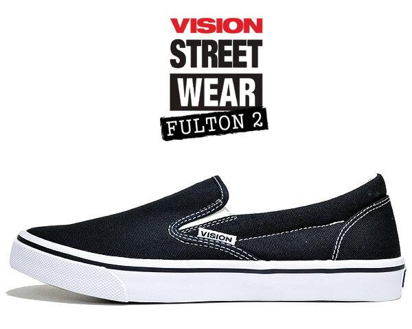 メンズ靴, スリッポン VISION FULTON 2 BLACK vsw-9151-010 2