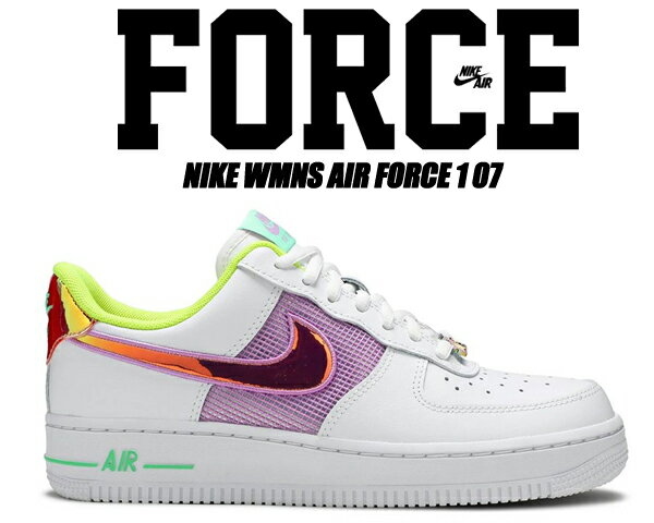 レディース靴, スニーカー NIKE WMNS AIR FORCE 1 07 whitemulti-color-lemon venom cw5592-100 1 07 LOW