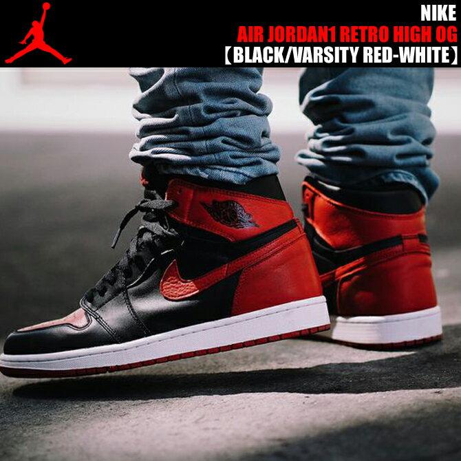メンズ靴, スニーカー NIKE AIR JORDAN 1 RETRO HI OGBLACKVARSITY RED-WHITE