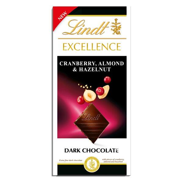 リンツLindtチョコレートエクセレンスクランベリーアーモンド&へーゼルナッツ 板チョコレートチョコギフトかわいいおしゃれお菓子