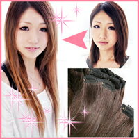 100% Human hair easy pachin's clip-on extensions & clip 28 set 5 colors & iron iron color OK ⇒ LSRV