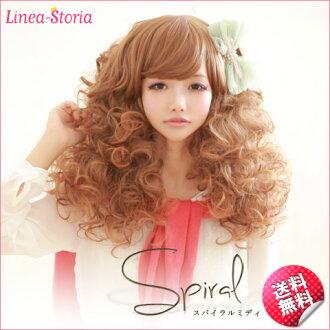 "Wig full wig ""spiral midi"" wig medium spiral raven-black hair wig wig イメチェンヘアスタイルリネア LSRV"