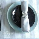 リネン テーブル ナプキン グレー シャンブレー 45x45cm リネン100% クラシック アンティーク おしゃれ 美しい 日本製 高級 麻
