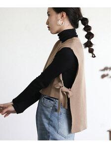[Rakuten Fashion]【WEB限定】重ね着スタイルに◆サイドリボン Bou Jeloud ブージュルード ニット ノースリーブニット/ベスト ベージュ ブラック カーキ