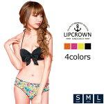 【LipCrownオリジナル】カラバリ4色☆フラワーデザインワイヤー入りリボンバンドゥー2点セットビキニ