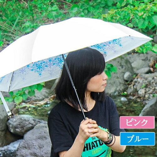 週末ポイント5倍!UVION プレミアムホワイト50ミニ クリスタル[カラー:ピンク/ブルー] 日本製 折り畳み傘 軽量150g 晴雨兼用 UVカット99%以上