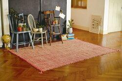ラグマット絨毯インドナチュラルファブリックコットンラグft-1234約100×140cm【インド綿キリム柄刺繍じゅうたん絨毯玄関】【05P27May16】
