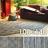 ラグマット 絨毯 インド キリム柄 ファブリックタイド 約100cm×140cm(サイズにゆがみあり)【インド デニム キリム柄  じゅうたん絨毯玄関】 【】