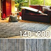 ラグマット 絨毯 インド キリム柄 ファブリックタイド 約140cm×200cm(サイズにゆがみあり)【インド デニム キリム柄  じゅうたん絨毯玄関】 【】
