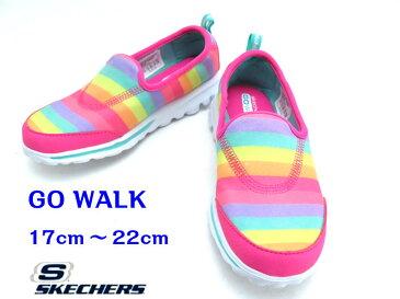 SKECHERS『スケッチャーズ』GO WALK(81046L)キッズ/キッズ/ジュニアスニーカー/スリポン/紐なし【ネオンピンクマルチ 】17cm 18cm 19cm 20cm 21cm 22cm